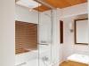 洗面室とバスルームを一体にすることで広さを確保したホテルライクなバスルーム。